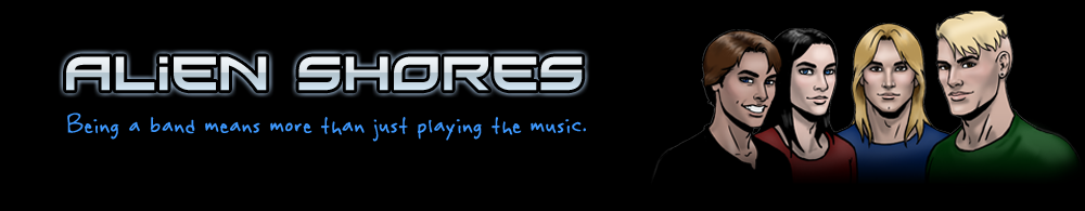 Alienshores logo and tag